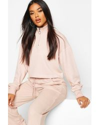 Boohoo Natural Zip Detail Funnel Neck Lounge Sweat