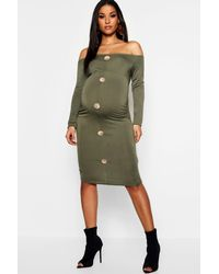 804c555cf493 Boohoo Maternity Off The Shoulder Horn Button Bodycon Dress in Green ...