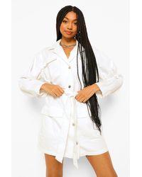 Pantalones Cortos Funcionales Estilo Vaquero Con Cinturón Boohoo de color White
