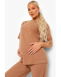 Maternity Brushed Rib Slouchy Lounge Set Boohoo de color Brown