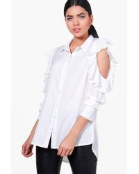 Boohoo White Lucy Ruffle Cold Shoulder Shirt