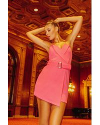 Boohoo - Pink Strappy Tux Belted Wrap Mini Dress - Lyst