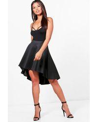 1276fb9522 Lyst - Boohoo Emily Dipped Hem Full Skater Skirt in Black