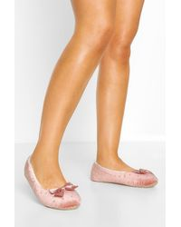 Boohoo Pink Studded Bow Front Ballet Slippers