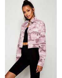 0d2fe4bcda58 Boohoo Tall Pink Camo Crop Denim Jacket in Pink - Lyst