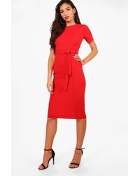Boohoo Eve Pleat Front Belted Tailored Midi Dress