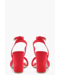 Boohoo Red Double Band Ankle Strap Heels