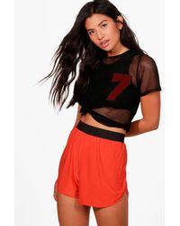 Boohoo Orange Lucy Skinny Runner Shorts
