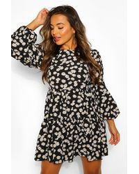 Boohoo Black Petite Woven Floral Tiered Smock Dress