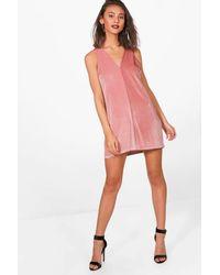 f2c93632d1 Lyst - Boohoo Velvet V-neck Pinafore Dress in Pink