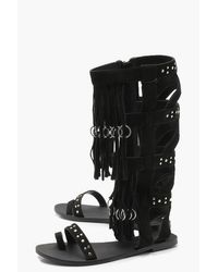 Boohoo Black Studded Fringed Suede Gladiator Sandals