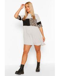 Boohoo Gray Plus Leopard Stripe T-shirt Dress