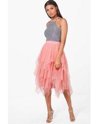 Boohoo Pink Boutique Nolita Layered Tulle Midi Skirt