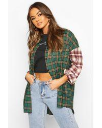 Boohoo Green Womens Mixed Flannel Contrast Sleeve Oversized Shirt