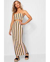 Boohoo Multicolor Tonal Stripe Basic Jersey Maxi Skirt