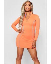 Boohoo Orange Figurbetontes Kleid Mit 1/2 Reißverschluss In Kontrastfarben