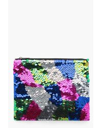 Boohoo Black Heidi Oversized Sequin Ziptop Clutch Bag