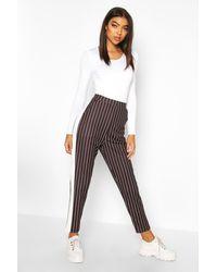 Boohoo Black Womens Tall High Waisted Pinstripe Pants