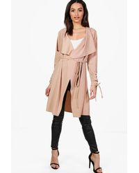Boohoo Natural Rebecca Ruched Sleeve Belted Duster