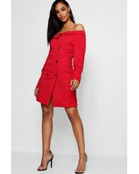 a6d1f5c84444 Boohoo Double Breasted Off The Shoulder Blazer Dress in Red - Lyst
