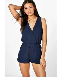 Boohoo Blue Amy Wrap Front Playsuit