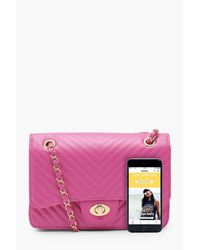 Boohoo Pink Millie Chevron Quilt Large Cross Body