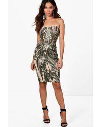 Boohoo Green Petite Sequin Print Bodycon Midi Dress