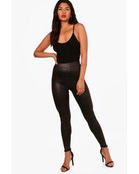Boohoo Womens Wet Look High Waist Leggings - Black - 2