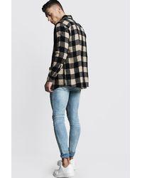 Boohoo Black Oversized Long Sleeve Camel Check Shirt for men