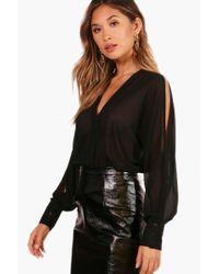 Boohoo - Black Chiffon Blouse Bodysuit - Lyst