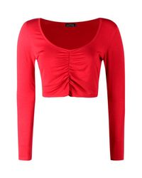 Boohoo Red Rachael Ruched Front Basic Crop