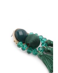 Boohoo - Green Morgan Bead And Tassel Statement Earrings - Lyst