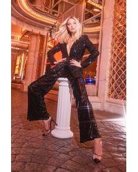Boohoo Black Sequin Tailored Suit Trouser