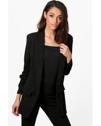 Boohoo Black Georgia Gathered Sleeve Tailored Woven Blazer