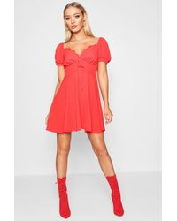 Boohoo Red Womens Tie Front Woven Tea Dress