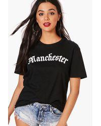 Boohoo Black Imogen Manchester Slogan Tee