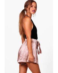 Boohoo - Black Petite Eyelet Tie Luxe Woven Shorts - Lyst