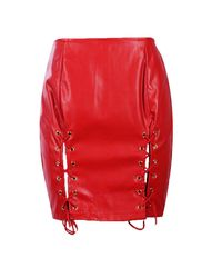 Boohoo Red Nadine Lace Up Split Front Leather Look Mini Skirt