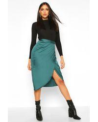 Boohoo Green Womens Tall Satin Wrap Midi Skirt