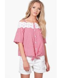 Boohoo Red Ava Gingham Crochet Cold Shoulder Blouse