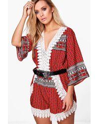 Boohoo Red Plus Naomi Crochet Paisley Playsuit