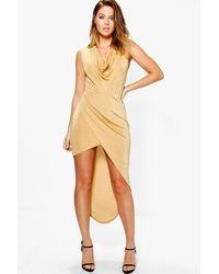 Boohoo Metallic Kira Textured Slinky Cowl Drape Midaxi Dress