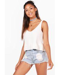 Boohoo White Lucy Peplum Hem Knitted Crop Top