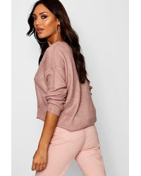 Boohoo Multicolor V Neck Slouch Jumper With Ribbed Sleeves