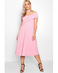 Boohoo Pink Plus Pleated Off The Shoulder Skater Dress