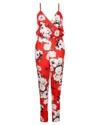 Boohoo Aria Wrap Over Red Floral Cami Jumpsuit