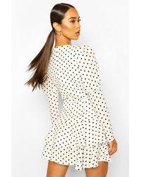 Boohoo White Polka Dot Puff Sleeve Tiered Hem Mini Dress