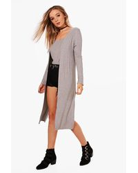 Boohoo - Gray Emily Rib Knit Side Split Maxi Cardigan - Lyst