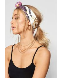 Boohoo Multicolor Chain Print Satin Headscarf