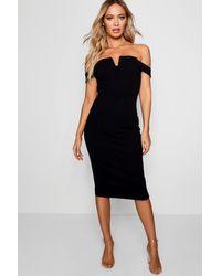 Boohoo Black Off The Shoulder Midi Bodycon Dress